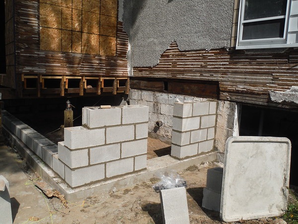 Block foundation for back porch and bathroom addition