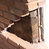 BRICKS IN THIS SECTION HAVE BEEN REMOVED AND ARE READY FOR NEW BRICK.<br /> ALL AREAS WHERE BRICK BUTTS UP TO WINDOWS OR TRIM WILL BE CAULKED WHEN FINISHED.