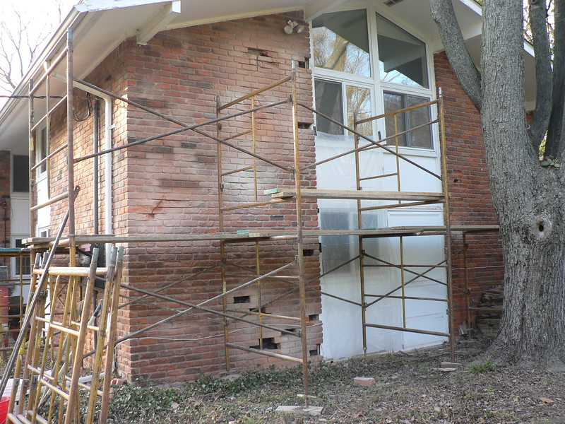BRICK HAVE BEEN SAW CUT. REMOVAL AND REPLACEMENT WILL CONTINUE ON MONDAY.
