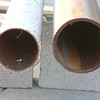 "NEW STEEL IS ON THE RIGHT. IT IS 4"" STRUCTURAL STEEL.<br /> THE OLD POST WAS 3"" THIN WALLED PIPE."