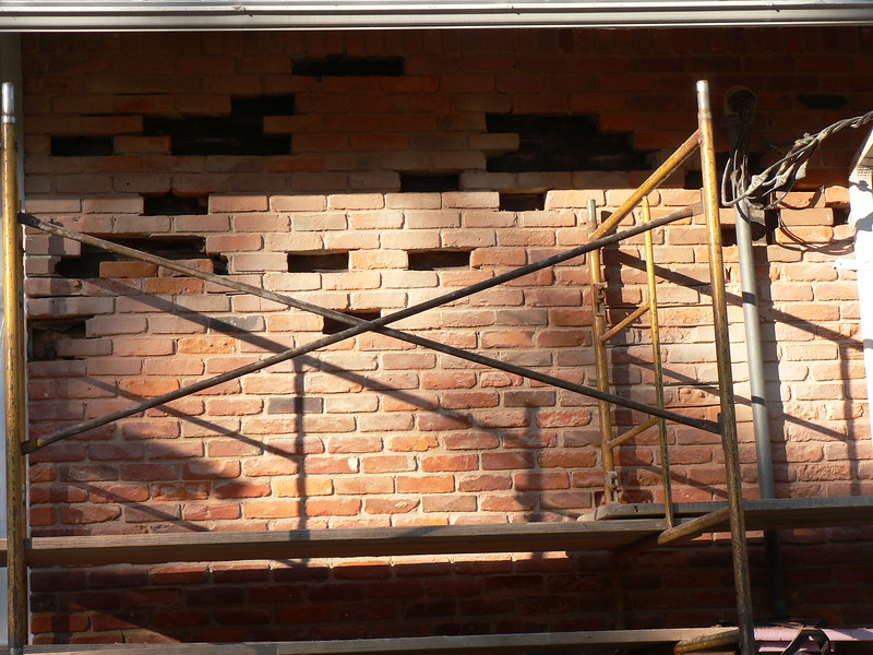 NEW BRICK WILL BE PUT IN THIS SECTION OF THE WALL IN THE MORNING.