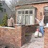 COURTYARD WALLS FINISHED. SETTING STONE CAP