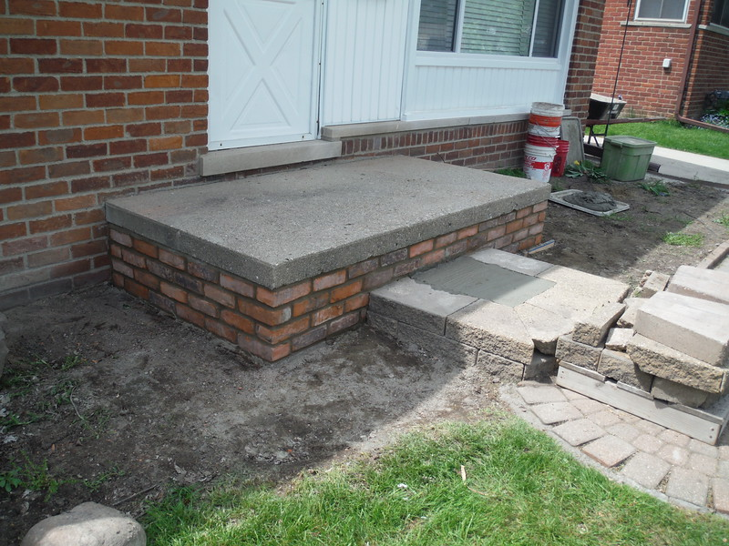 Brick will be replaced on all three side of porch and front steps will be re set replacing any cracked material