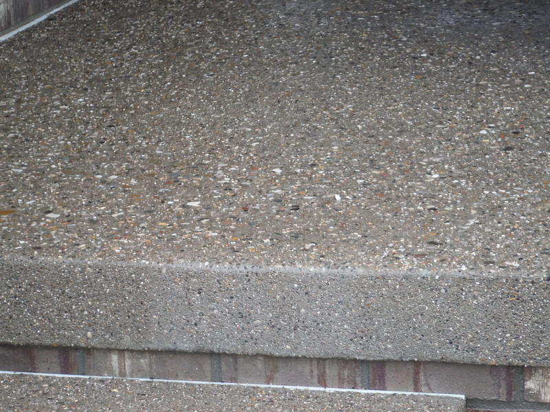 Exposed aggregate porch and step.