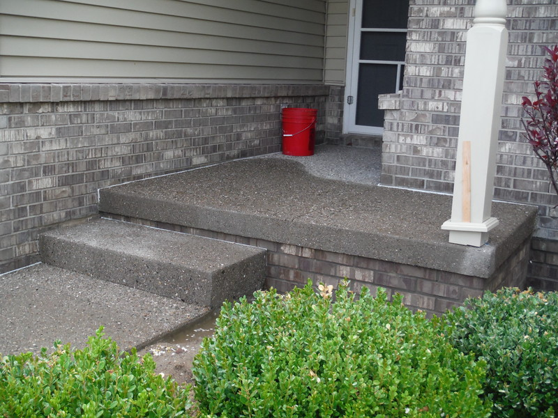 Exposed aggregate porch & step
