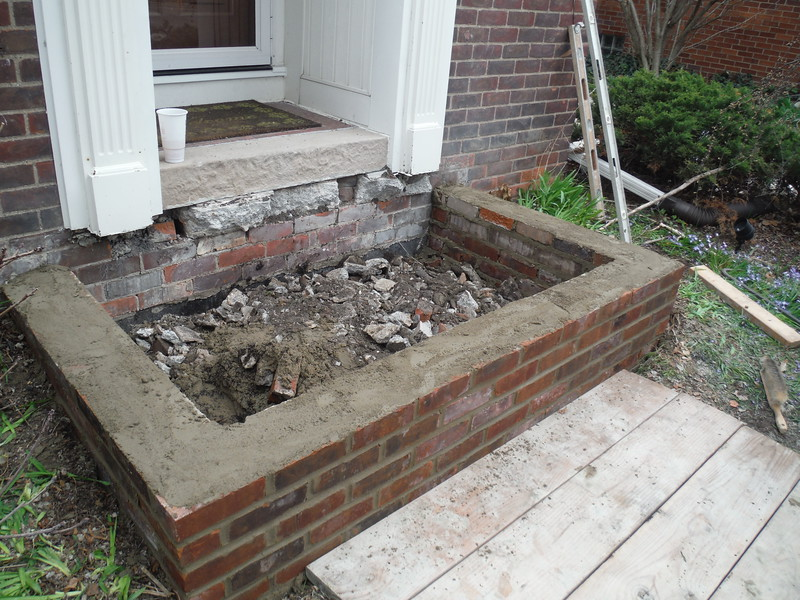 Exposed aggregate porch during construction
