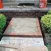 Limestone steps with brick treads