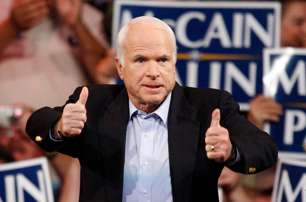 . FILE - In this Nov. 3, 2008 file photo, Republican presidential candidate Sen. John McCain, R-Ariz., speaks during a rally in Henderson, Nev. McCain\'s family says the Arizona senator has chosen to discontinue medical treatment for brain cancer.  (AP Photo/Isaac Brekken)