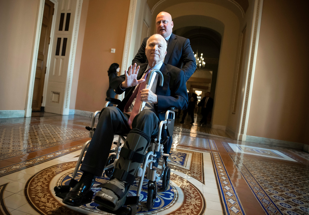 . FILE - In this Dec. 1, 2017, file photo, Sen. John McCain, R-Ariz., leaves a closed-door session on Capitol Hill in Washington, where Republican senators met on the GOP effort to overhaul the tax code. Arizona Sen. McCain, the war hero who became the GOP\'s standard-bearer in the 2008 election, has died. He was 81. His office says McCain died Saturday, Aug. 25, 2018. He had battled brain cancer. (AP Photo/J. Scott Applewhite, File)