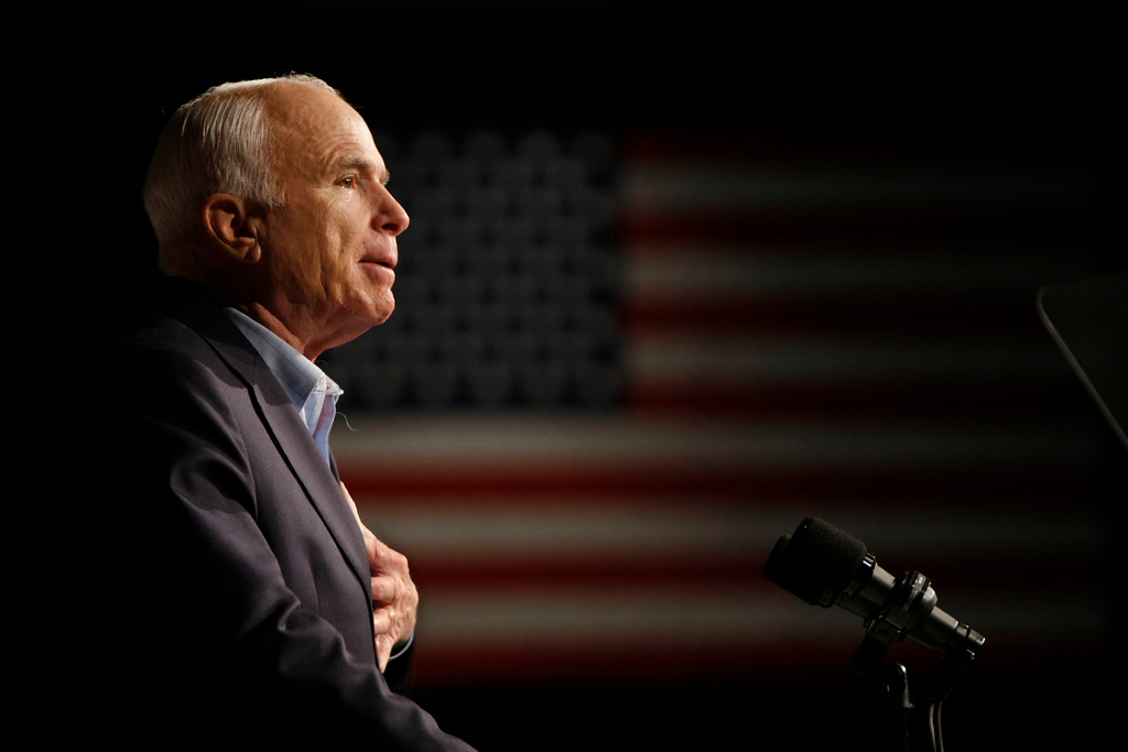 . FILE - In this Oct. 11, 2008, file photo, Republican presidential candidate Sen. John McCain, R-Ariz., speaks at a rally in Davenport, Iowa. Arizona Sen. McCain, the war hero who became the GOP\'s standard-bearer in the 2008 election, has died. He was 81. His office says McCain died Saturday, Aug. 25, 2018. He had battled brain cancer. (AP Photo/Gerald Herbert, File)