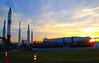 The Rocket Garden at sundown. The event was held just to the right of the jumbo screen. 75 lucky visitors at the complex that day were given tickets for this historic event.