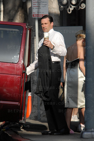 Jon Hamm during the set of Mad Men in Pasadena,co-star Anna Camp.
