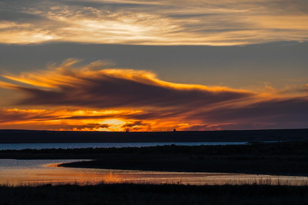 Sunset at Lake Bowdoin National Wildlife Refuge, Montana.