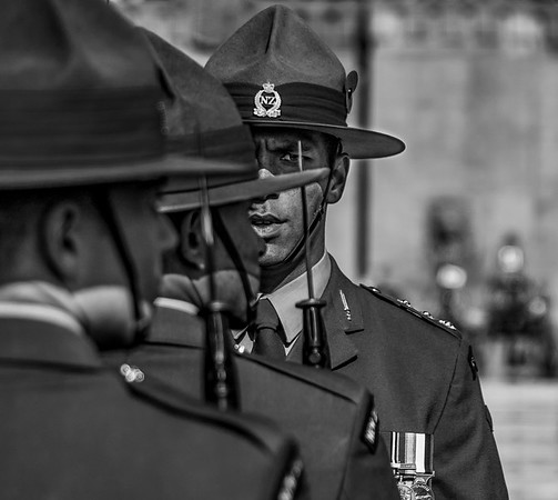 On the afternoon of monday April 25, 2016, soldiers are lined up at Pukeahu National War Memorial Park in Wellington, New Zealand. This is a holiday known as Anzac Day, which remembers the soldiers that fought during World War I. (© Erica Jacques 2016)