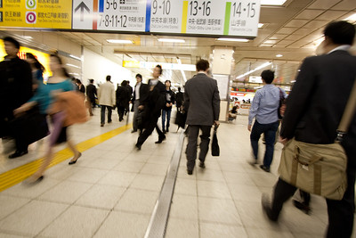 Morning rush at Shinjuku Station