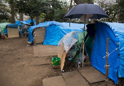 Photo by Seto of a homeless camp in a Tokyo park. Homelessness is an increasing concern in Japan. As is typical, this one was very clean and tidy. Even with an innovative system for gathering rainwater using umbrellas and a pail.