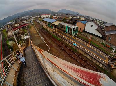 Rural train stop, Shikoku