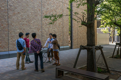 Students chatting at Waseda University