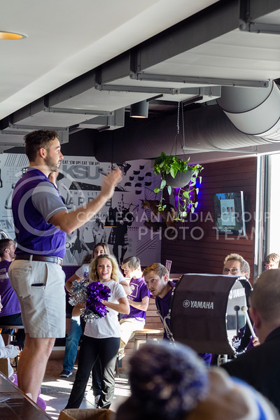 The Ksu Marching Band walked through JP's Union Station and played the fight song and other medly's during the grand opening celebration on March 1 , 2018 (Alex Shaw | Collegian Media Group)