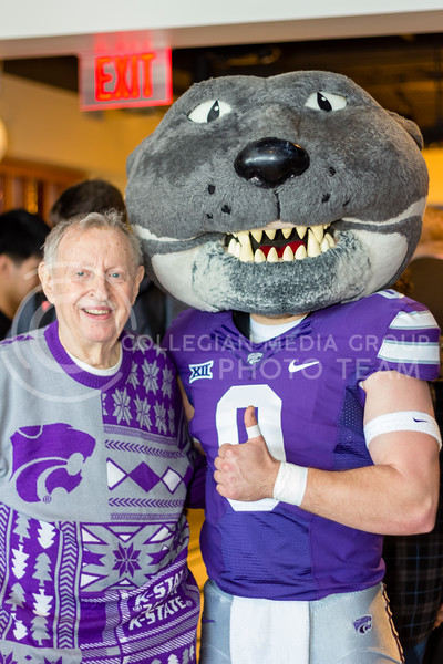 "Willie The Wildcat and JP""S namesake John T. Pence enjoy the festivities during JP's Union Station grand opening on March 1, 2018 (Alex Shaw 