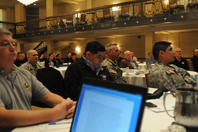 In this image released by the Texas Military Forces, Soldiers and Airmen with Joint Task Force 71 met with members of several state emergency management agencies and the United States Marine Corps Chemical Biological Incident Response Force on Tuesday, January 11, 2012 in San Antonio, Texas. The individual organizations came together for a two-day event that began with detailed capabilities briefings and culminated in a tabletop exercise involving a Category-4 tornado touchdown inside San Antonio. The exercise was designed to offer the agencies an opportunity to evaluate current resources, plans and capabilities needed to respond to catastrophic events and ensure a fully integrated and coordinated response if it ever becomes necessary. JTF-71 attendees included several members of the 6th Civil Support Team, 6th Chemical, Biological, Radiological and Nuclear Enhanced Force Package as they are the a part of the FEMA Region VI Homeland Response Force and will be working directly in conjunction with the CBIRF. (Photo/100th Mobile Public Affairs Detachment, Army National Guard Staff Sgt. Melissa Bright)