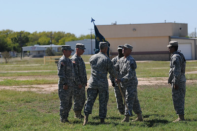 In this image released by the Texas Military Forces, Soldiers and Airmen with Joint Task Force 71 participate in a change of command ceremony in Bryan, Texas, Friday, October 14, 2011. JTF-71 recently completed a National Guard Bureau evaluation for certification as the Homeland Response Force for FEMA Region VI. Outgoing commander, Col. Bill Hall, transferred command to Col. Lee Schnell, his chief of staff for the last twelve months. (Photo/100th Mobile Public Affairs Detachment, Army National Guard SPC Andrew Oeffinger)