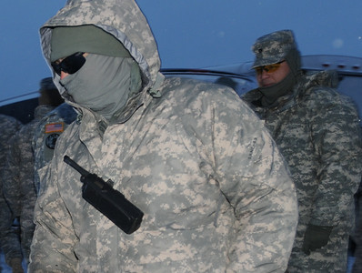In this image released by the Texas Military Forces, Soldiers with 436th Chemical Company wake up to a winter storm in Fort Worth, Tuesday, Feb. 1, 2011 after a deep freeze moved in.  The unit, headquartered in Laredo, Texas, is part of part of a mission to support of civil authorities during the weeks leading up to Super Bowl 45 with Joint Task Force 71. (Photo/100th Mobile Public Affairs Detachment, Army National Guard Sgt. Melissa Bright)