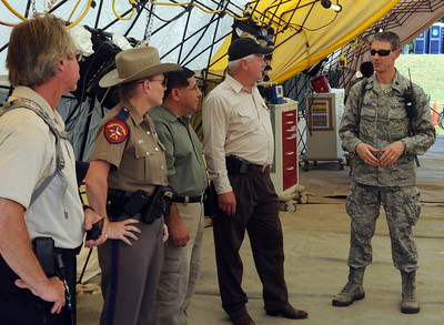 Civil and military authorities share information while conducting a collective training exercise at the Govalle Water Treatment Facility in Austin, Texas, April 26-27, 2012. This exercise helps Joint Task Force 71 maintain readiness to conduct the Homeland Response Force mission throughout FEMA Region 6.