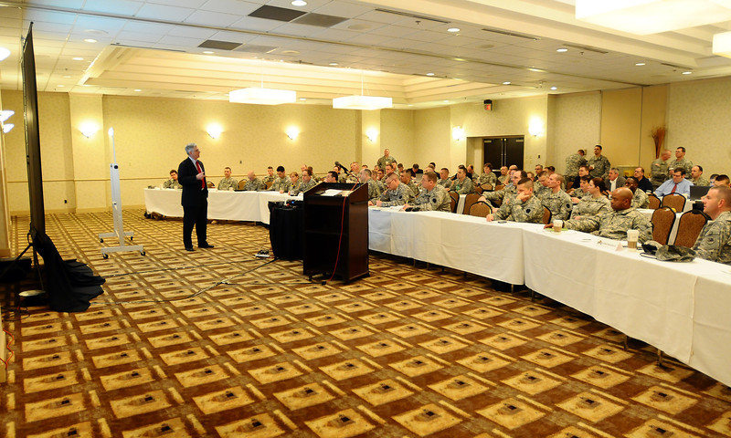 In this image released by the Texas Military Force, NGB representatives and commanders discuss simulated mass-casualty incidents during the Homeland Response Force best practices conference and tabletop exercise. The three day event, held in San Antonio January 31 through February 2, featured personnel from the country's 10 Homeland Response Forces discussing lessions learned from the first five validations and planning ahead for the remaining five external evaluations.