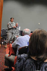 In this image released by the Texas Military Forces, Maj. Bobbie Jackson answers questions about the 6th Civil Support Team during a breakout session in the 2011 Texas Division of Emergency Management Conference, Wednesday, April 27, 2011, in San Antonio Texas. They are charged with providing defense support to agencies during disasters and other emergencies.  The conference provides the perfect opportunity for Jackson to meet and interact with key leaders and organization leaders in a non-emergency setting. (Photo/100th Mobile Public Affairs Detachment, Army National Guard Staff Sgt. Melissa Bright)