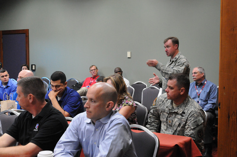 In this image released by the Texas Military Forces, Col. William Hall gives a detailed description of the Joint Task Force 71 during the 2011 Texas Division of Emergency Management Conference, Wednesday, April 27, 2011, in San Antonio Texas. The task force is charged with providing defense support to agencies during disasters and other emergencies.  The conference provides the perfect opportunity for Hall, JTF 71 commander, to meet and interact with key leaders and organization leaders in a non-emergency setting. (Photo/100th Mobile Public Affairs Detachment, Army National Guard Staff Sgt. Melissa Bright)