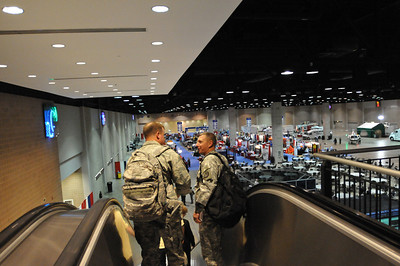 In this image released by the Texas Military Forces, Soldiers with the Joint Task Force 71 participate in the 2011 Texas Division of Emergency Management Conference, Wednesday, April 27, 2011, in San Antonio Texas. JTF 71 is charged with providing defense support to agencies during disasters and other emergencies.  The conference provides the perfect opportunity for the Soldiers to meet and interact with key leaders and organization leaders in a non-emergency setting. (Photo/100th Mobile Public Affairs Detachment, Army National Guard Staff Sgt. Melissa Bright)