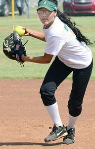 KEVIN HARVISON | Staff photo Canadian High School senior shortstop Alexis Moreno prepares to throw a ball to first during Tuesday summer league play against Stigler at the Pittsburg County Softball Complex.
