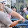 KEVIN HARVISON | Staff photo<br /> A Kiowa hitter takes a swing at the ball during summer fast pitch softball action at the PIttsburg County Softball Complex Thursday.