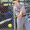 KEVIN HARVISON | Staff photo<br /> Stuart Hornet Shelby Howell takes a cut during summer league action Tuesday at the Pittsburg Softball Complex.