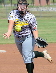 KEVIN HARVISON | Staff photo Elizabeth Watkins delivers a pitch against Oktaha during Tuesday summer league play at the Pittsburg County Softball Complex.