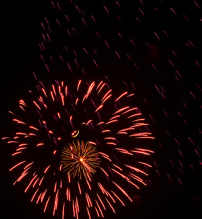 KEVIN HARVISON | <br /> A fireworks light up the sky above the McAlester Expo Thursday night.