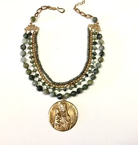 7-RM126-HE CO 139    LARGE BRONZE ST ANNE MEDAL ON KNOTTED GREEN LAB, HAWK'S EYE ROSARY CHAIN, VINTAGE CHAIN AND GREEN PEARLS  17 + 2""