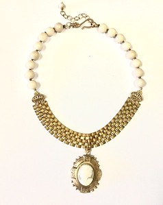 """7-RM232-VCC  CO132   CAMEO IN FRAME ON VINTAGE WATCH CHAIN AND FOSSIL CORAL BEADS  15 + 2"""""""