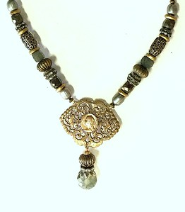 """7-RM256-PYLAB CO129  FILIGREE ROSARY CENTER ON PYRITE AND LAB AND VINTAGE BEADS WITH SILVER PEARLS  16 + 2"""""""