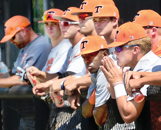 Kevin Harvison | Staff photo<br /> Team Tennessee waits and watches the outcome of a game during Junior Sunbelt action at Mike Deak Field Friday.