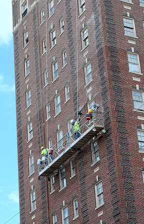 Staff photo by Kevin Harvison |<br /> Work on the historic Aldridge Hotel continues.