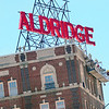 Staff photo by Kevin Harvison |<br /> Work continues on the historic Aldridge Hotel Monday.