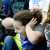 Kevin Harvison | Staff photo<br /> Hartshorne elementary students react to the buzzer during the annual Big Mick Tournament Wednesday in Hartshorne.