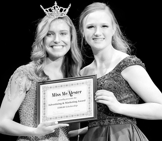 Kevin Harvison | Staff photo<br /> 2018 Miss McAlester Alexandria Williams, left, poses with 2019 Miss McAlester's Outstanding Teen Advertising and Marketing Award winner Emilee Coxsey.