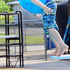 Kevin Harvison | Staff photo<br /> Nashoba Paxton lets gravity help him get into Jeff Lee Pool.