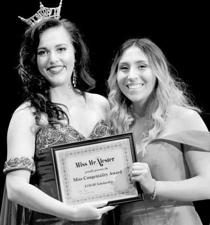 Kevin Harvison | Staff photo<br /> 2018 Miss McAlester Alexandria Williams poses with 2019 Miss Congeniality Summer Shannon at S. Arch Thompson Auditorium Saturday.