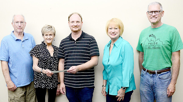 Kevin Harvison | Staff photo Beta Iota of McAlester presented Pride in McAlester with a donation. Pictured from left David Beal, Bettyu Balkman, Justin Few, Ann Owens and Steve Harrison.