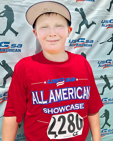 Kevin Harvison | Staff photo<br /> Hayden Harvison pictured at the USSSA All American Showcase in Owasso.