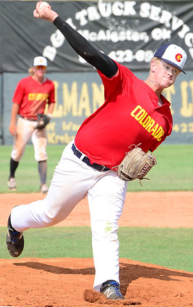 Kevin Harvison | Staff photo<br /> Pitcher for team Colorado delivers the ball during Junior Sunbelt action at Mike Deak Field.